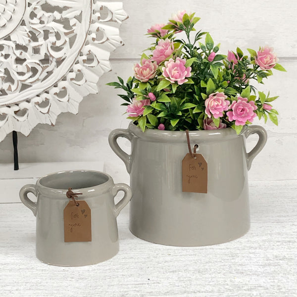 Grey ceramic planter pots