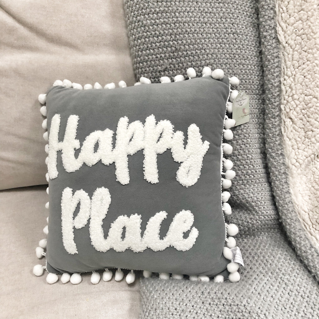 Happy Place Cushion Grey Pom Pom