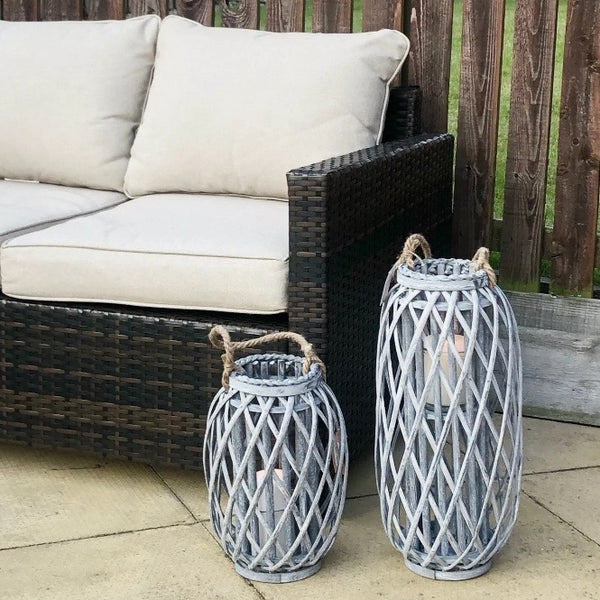 Grey Wicker Lantern