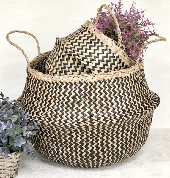 Black and Natural Seagrass Belly Basket