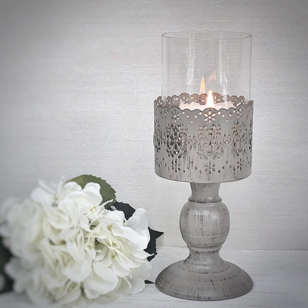 Pillar Candle holder grey