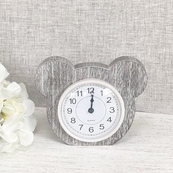 Grey Baby Bear Clock