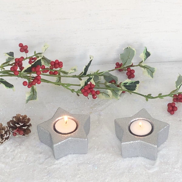 Silver Star tea light candle holder