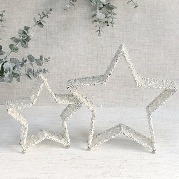 Set of 2 Beaded Stars - White