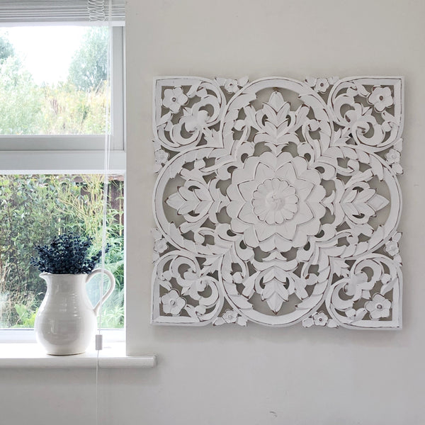 White Carved Wall Panel Medium