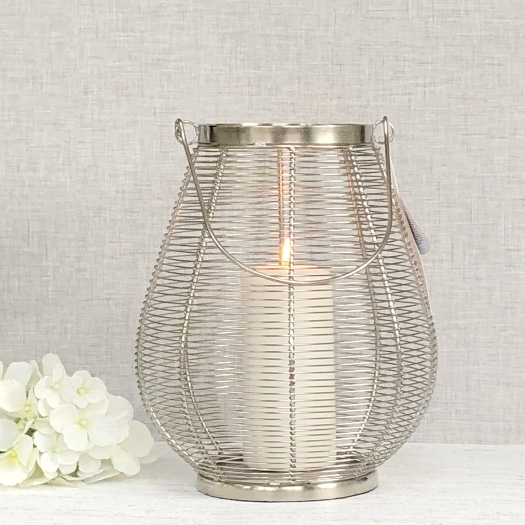 silver lantern metal outdoor