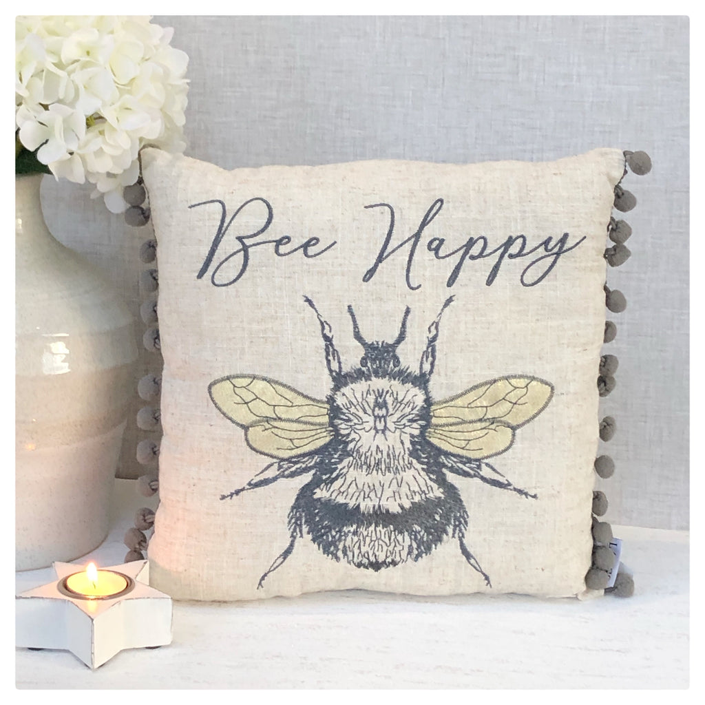 Bee Happy Cushion with Pom Poms