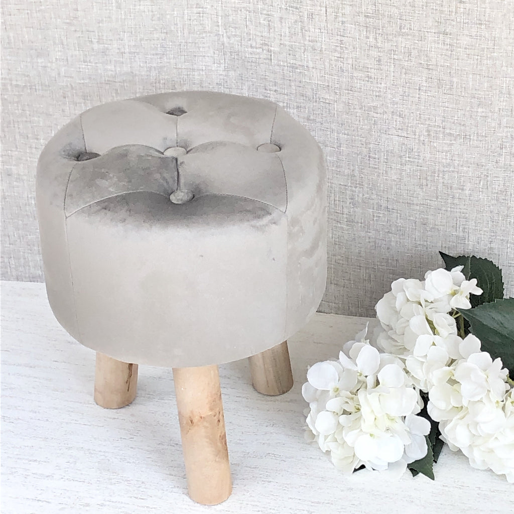 Grey velvet button stool