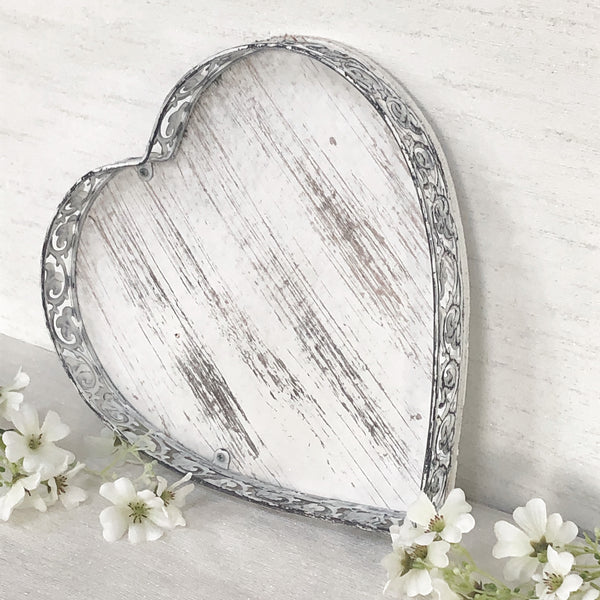 Rustic White Heart Trays