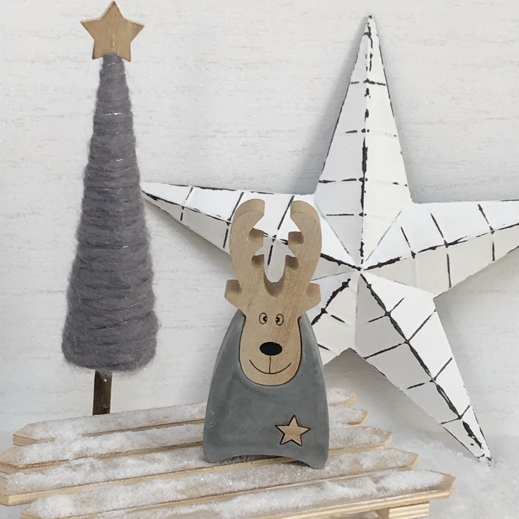 Wooden Block Reindeer