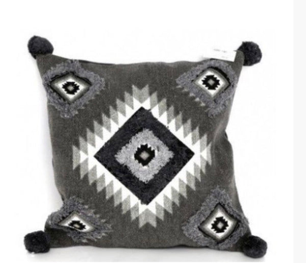 Aztec grey cushion with Pom Poms