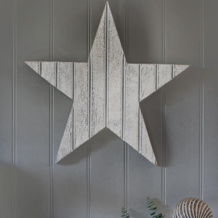 Large White Wooden Wall Star