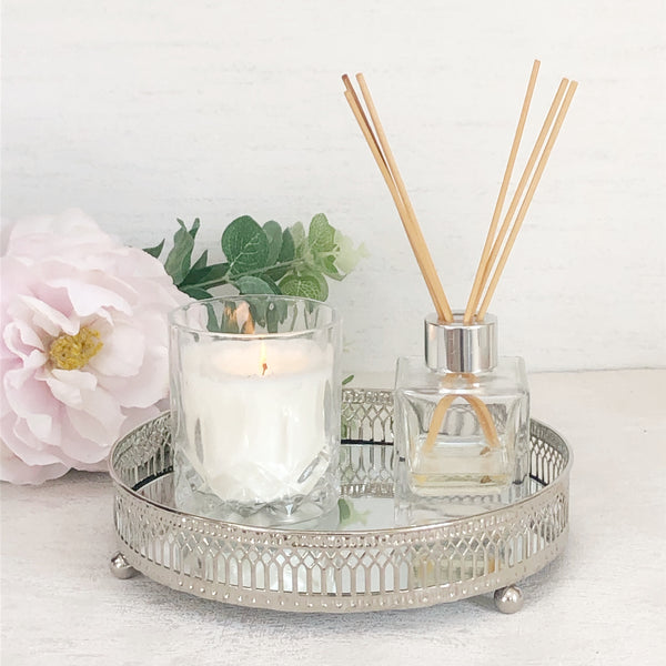 Silver Mirrored Candle Tray