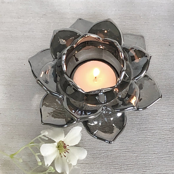 Flower candle holder silver