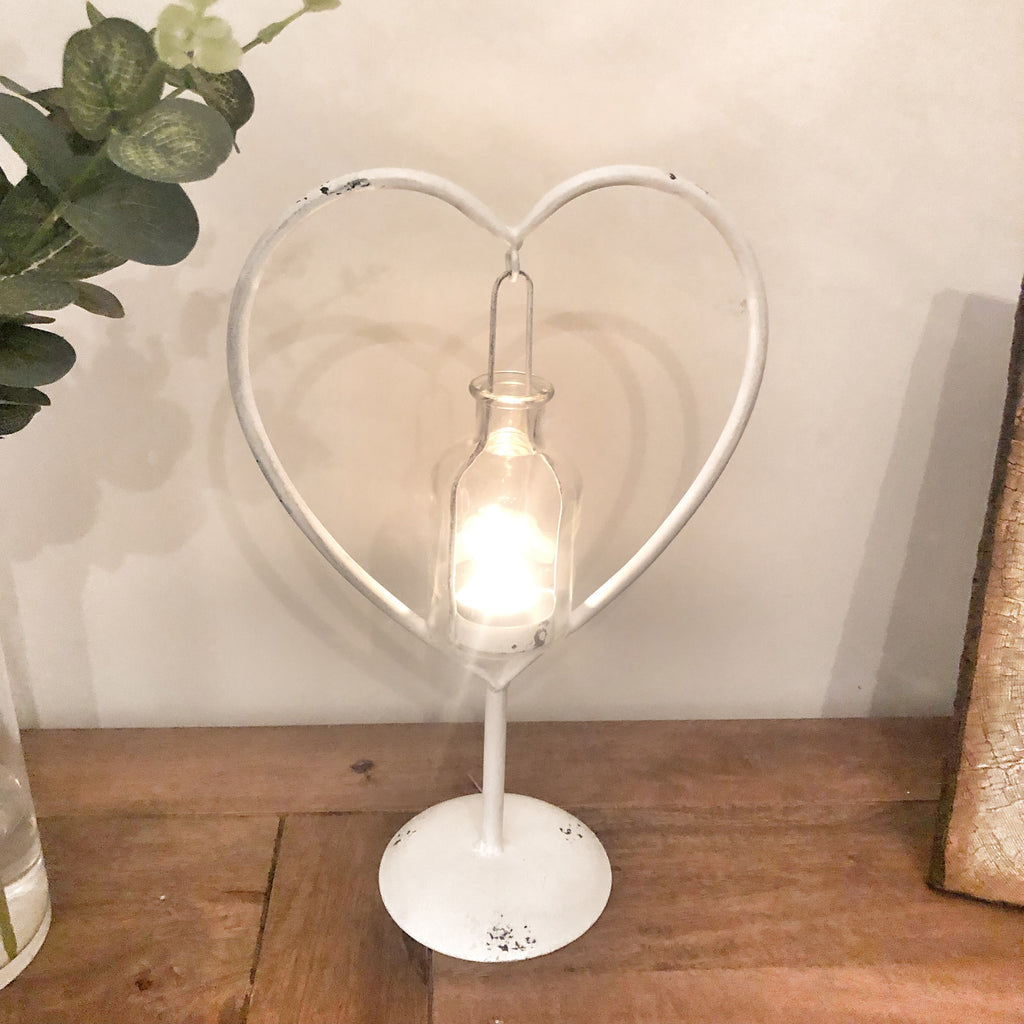 Heart Shaped Stand with Bottle Candle Holder White