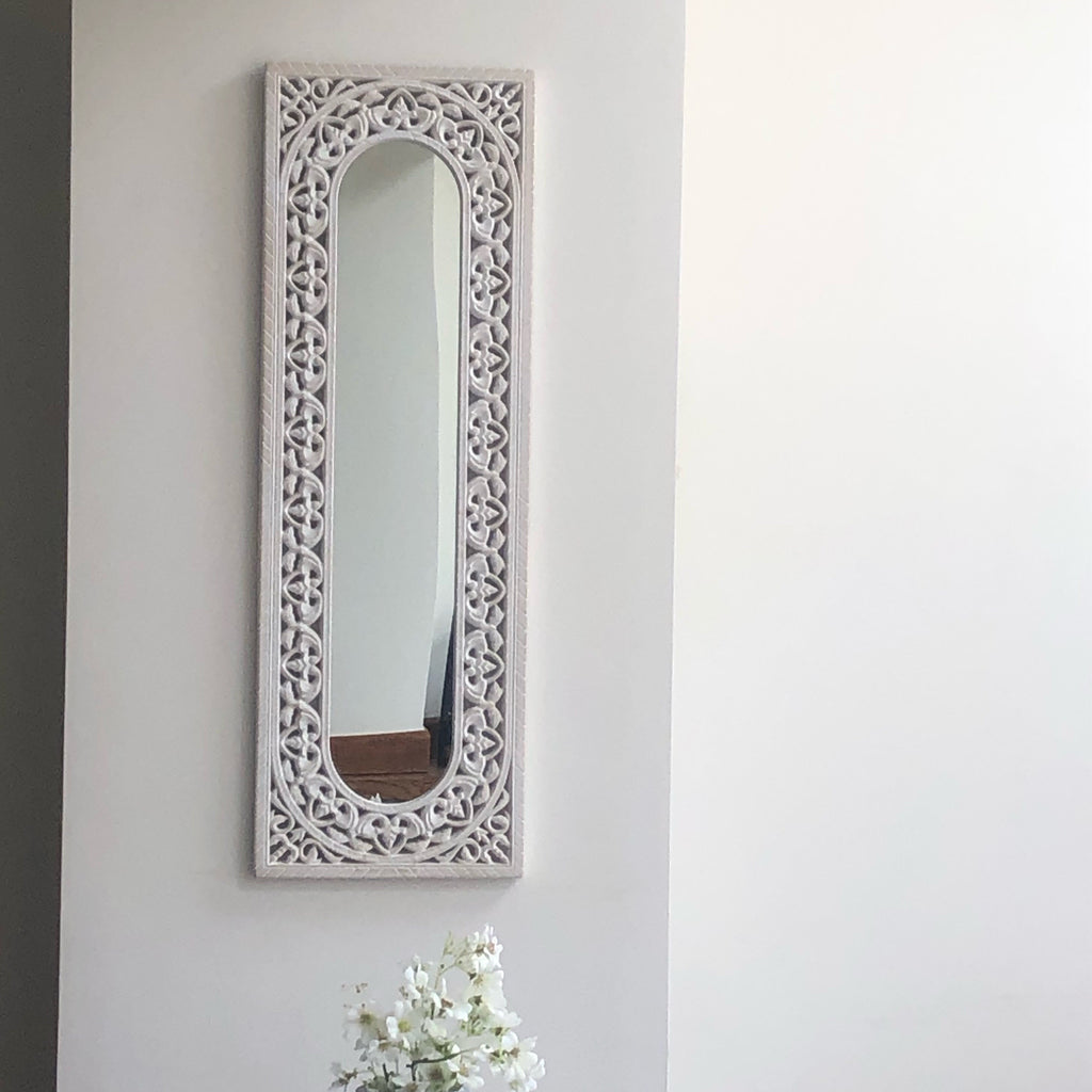 Morrocan White Mirror carved large