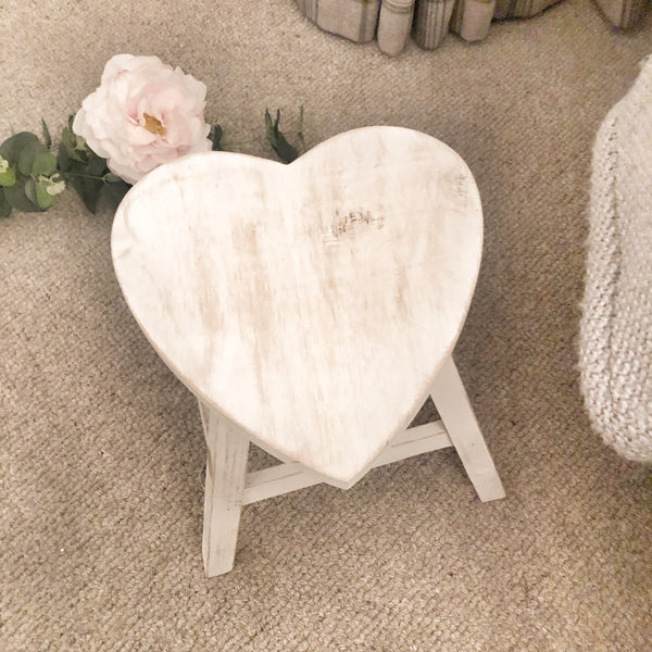 Heart Shaped Stool Small Whitewashed