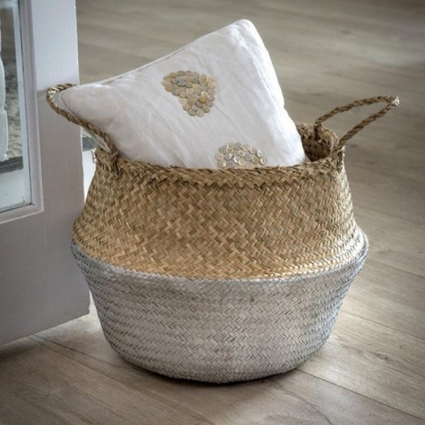 Silver Seagrass Belly Basket Natural