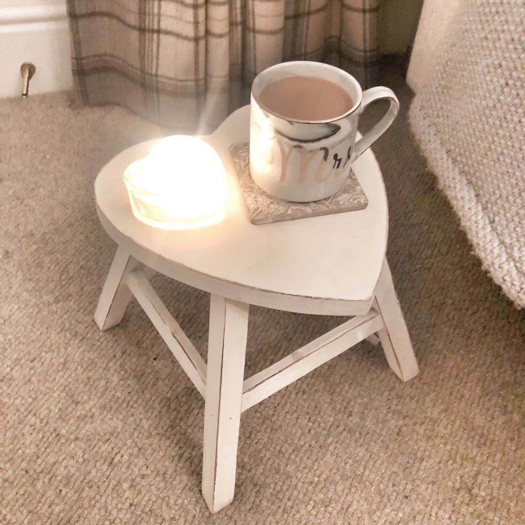 Small white wooden heart shaped table stool