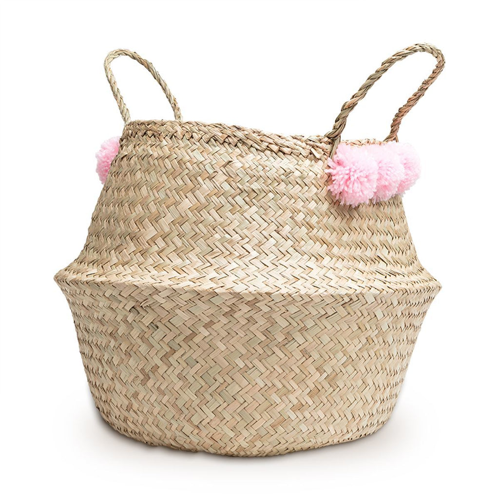 belly basket storage pink pom poms handles