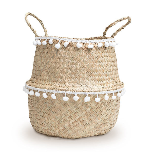 Natural storage basket mini white pom poms