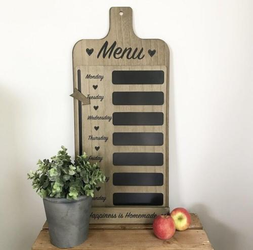 Wooden Chalkboard Menu Meal Planner