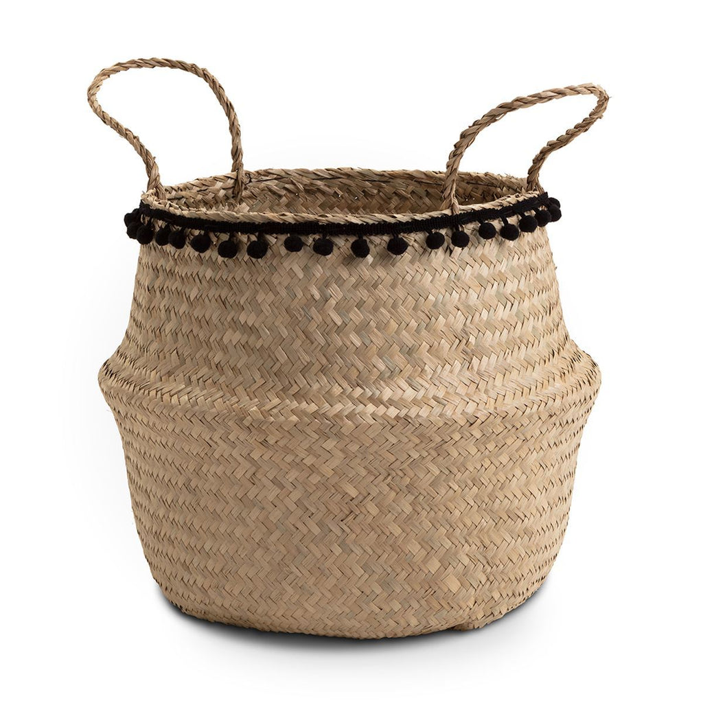 Natural Seagrass Storage basket with Black Pom Pom trim