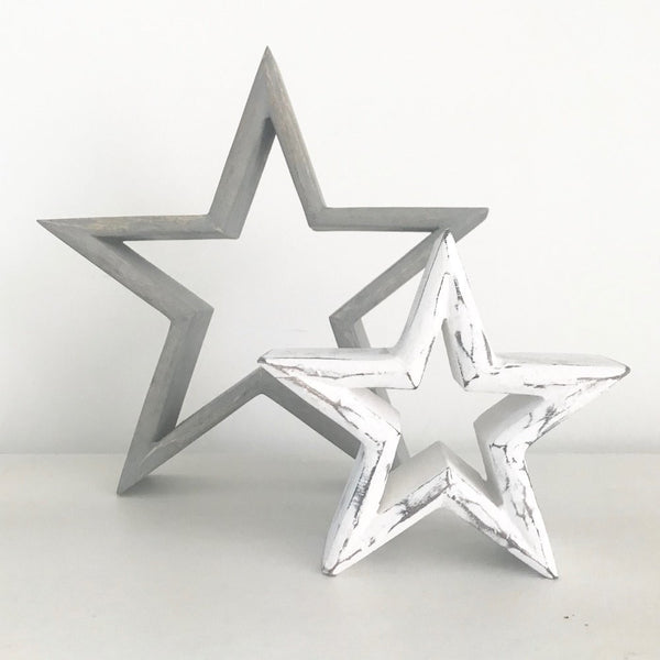 Grey and white wooden stars set of 2