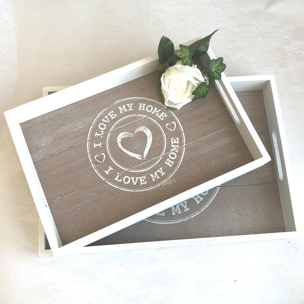 Wooden tray love my home heart