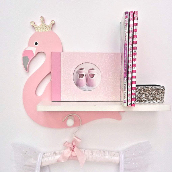 Wooden Flamingo Shelf Pink