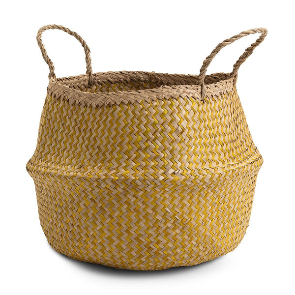 Yellow seagrass storage basket