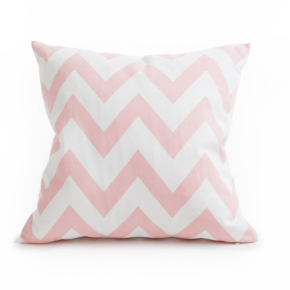 Pink and white zig zag cushion