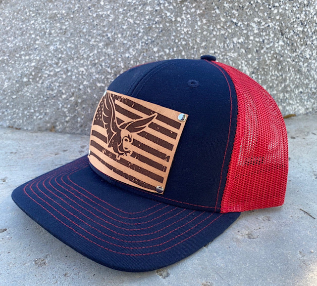 Limited Edition! Navy Blue/Red Trucker Hat with Embossed Vintage American Flag/Eagle Leather Patch