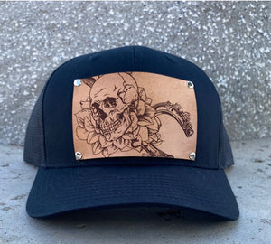 Limited Edition! Black Trucker Hat with Embossed Skull and Horseshoe Leather Patch