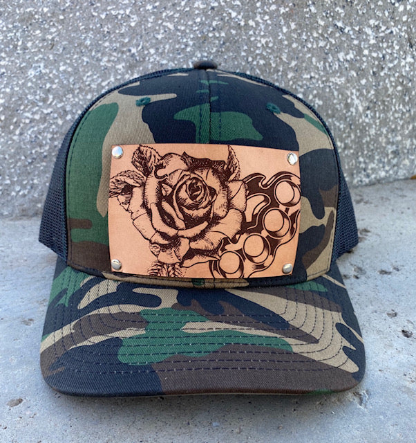 Limited Edition! Camouflage Trucker Hat with Embossed Rose with Brass Knuckles Leather Patch