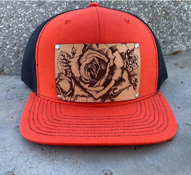 Limited Edition! Orange Trucker Hat with Embossed Roses Leather Patch