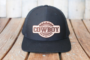 Black Premium Cowboy Hat with Embossed Leather Patch