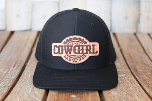 Black Premium Cowgirl Hat with Embossed Leather Patch