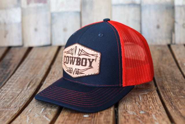 Navy/Red Premium Cowboy Hat with Embossed Leather Patch
