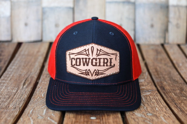 Navy/Red Premium Cowgirl Hat with Embossed Leather Patch