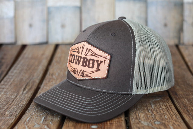 Brown Premium Cowboy Hat with Embossed Leather Patch