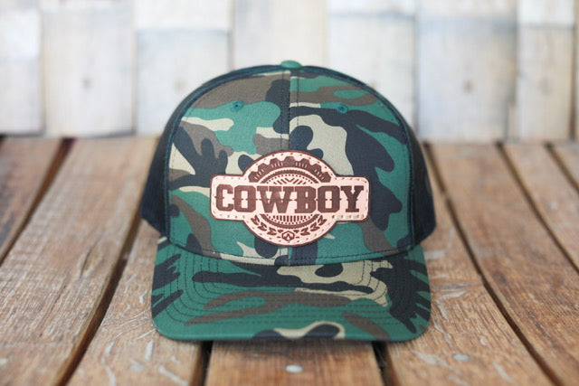 Camo Premium Cowboy Hat with Embossed Leather Patch