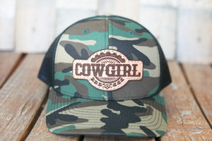 Camo Premium Cowgirl Hat with Embossed Leather Patch