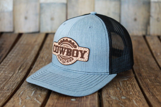 Denim Premium Cowboy Hat with Embossed Leather Patch