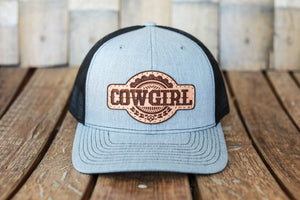 Denim Premium Cowgirl Hat with Embossed Leather Patch