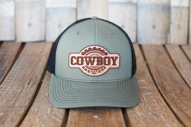 Military Green Premium Cowboy Hat with Embossed Leather Patch