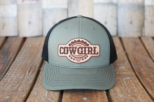 Military Green Premium Cowgirl Hat with Embossed Leather Patch