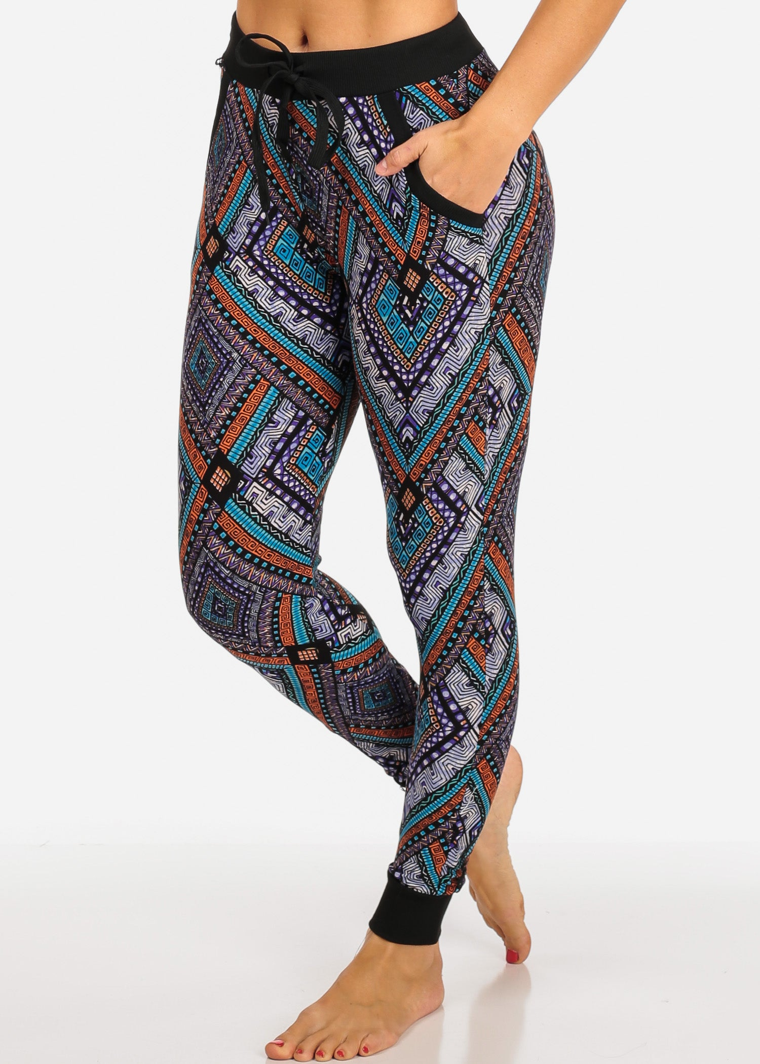 s Multicolor Pockets Side Waist Joggers Functional Print High Women cS5jL4qR3A