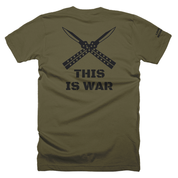 LTN This is war gym shirt, khaki green back