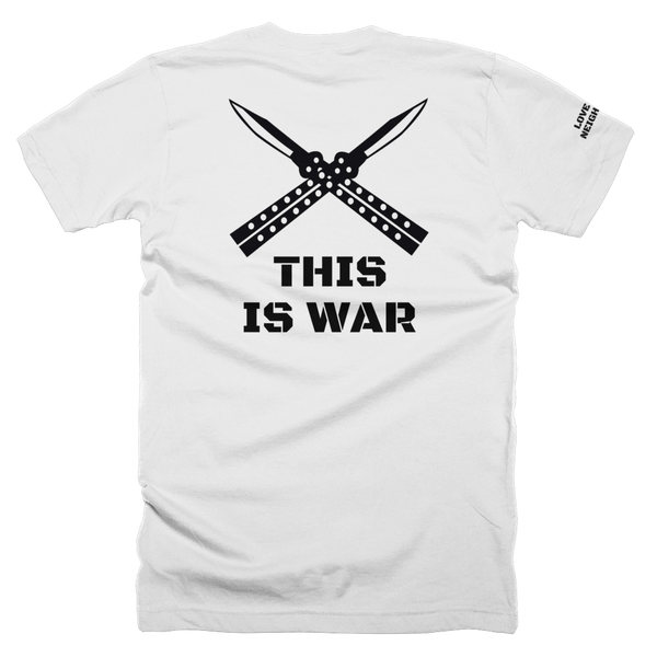 LTN This is war gym shirt, white back